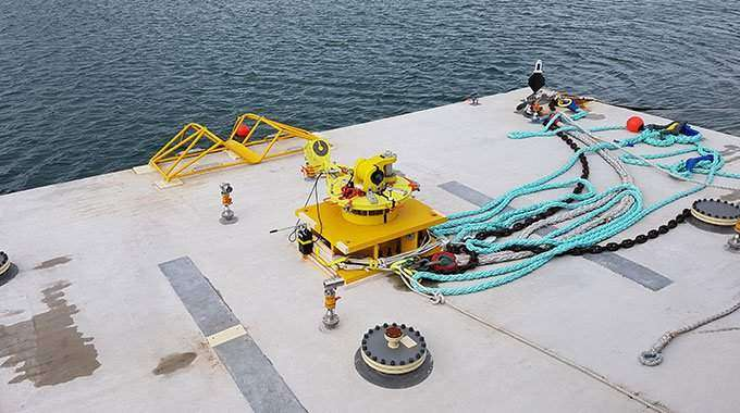 Minesto tether to Welsh seabed