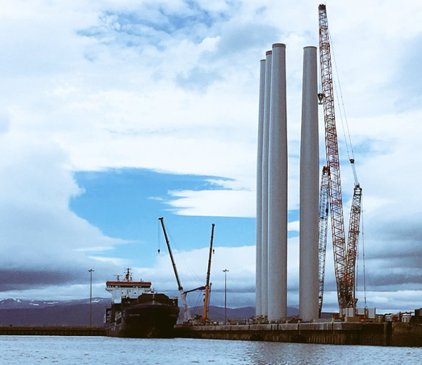 Turbine towers ready for delivery